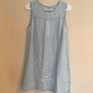 Francesca's denim dress embroidered details